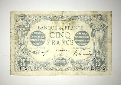 Scarce 1916 France 5 Francs Currency Note