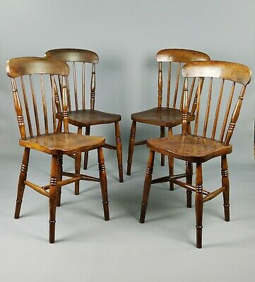 A Set Of Four Late 19th Century Kitchen Chairs.