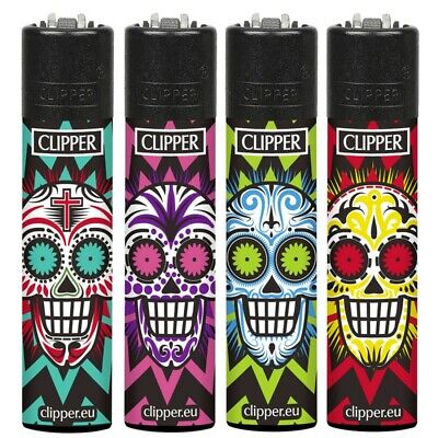 4 x CLIPPER LIGHTERS COLORFUL SKULLS  GAS REFILLABLE LIGHTER with BLACK TOPS