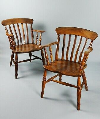 A Pair Of 19th Century Country Windsor Chairs.