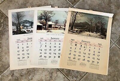 Lot of 3 Vintage Travelers Insurance Connecticut Calendars 1950s Currier & Ives