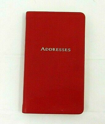 """Harrods Address Book 3x5"""" Soft Flexible Leather Cover Personal Pocket Red"""