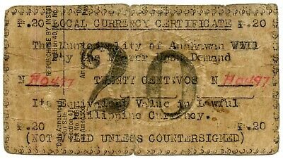 Genuine WWII Anahawan, Philippines 20 Centavos Emergency Currency Note
