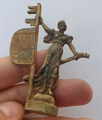 Detector Find Ancient Medieval Silvered Key Statuette Very Rare