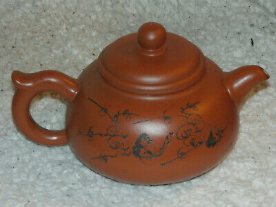 Chinese Yixing Clay Pottery Teapot with Seal Mark on Base and Inside Lid