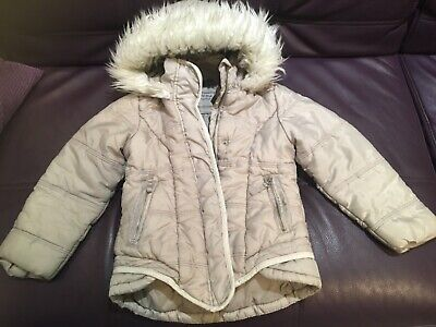 NEXT girl's padded light grey/ beige coat/winter jacket , 7 years, fur hood