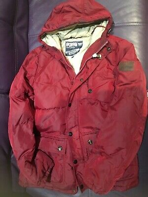 Red Beige Women's Girls Puffed quilted Coat ski jacket warm padded M medium