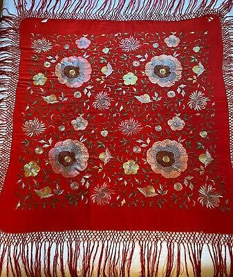 VTG Spanish silk shawl, long fringe, bright red, multi-colored embroidery floral