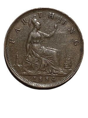 1884 Great Britain Farthing, Queen Victoria, Attractive Example, XF #1192