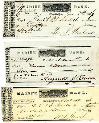 1846-7 3 ITEMS MARINE BANK for WHALING CAPITAL OF AMERICAS-- NEW BEDFORD MASS.