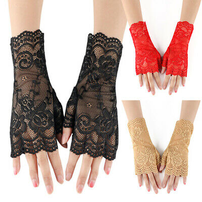 1Pair Women Sexy Embroidered Gloves Lace Glove Driving Glove Sunscreen Gloves