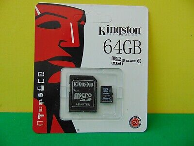 Kingston 64GB Micro SD HC1 Class 10 Cards with Adapter New & Sealed