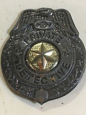 Antique 1950S 60S Childs Metal Toy Private Detective Badge