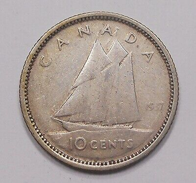 1937 Ten Cents VF ** Nice LOW Mintage 1st Year King George VI Canada SILVER Dime