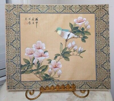 Vintage Japanese Hand Painted Bird & Pink Blossoms on Silk~Paper Back *SGN*