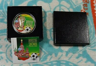 2018 Russia World Cup 3 Roubles 1 oz .999 Silver Coin Colorized Gold Gilded COA