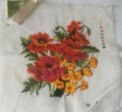 Almost Completed Vintage Tapestry Canvas Poppies Needs Background