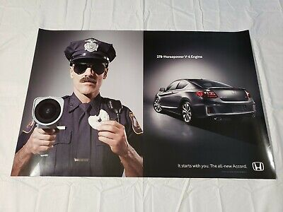 "2012 Honda Accord V-6 Police Dealership Promotional Poster 36"" × 24"" USA"