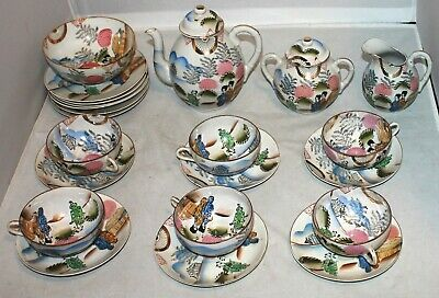 Antique Japanese Egg Shell Hand Painted Tea Set for 6