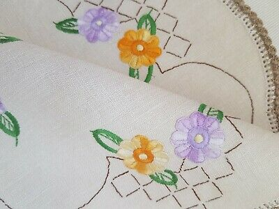 Vintage Hand Embroidered Linen Doily Mauve & Peach Flowers Crochet Lace Edging