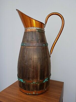 Large Antique Copper Banded Oak Pitcher, wine jug, Stick Stand 25 inches high