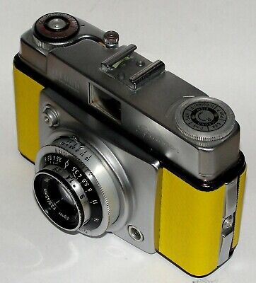Vintage Ilford Sportsman Camera & Case. Yellow Imitation Leather Covered