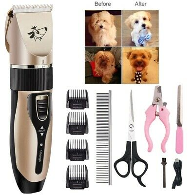 Rechargeable Pet Dog Cat Animal Clippers Hair Grooming Cordless Trimmer Shaver U