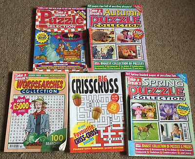 Bundle Of Puzzle Books Magazines New Other Pen On Front