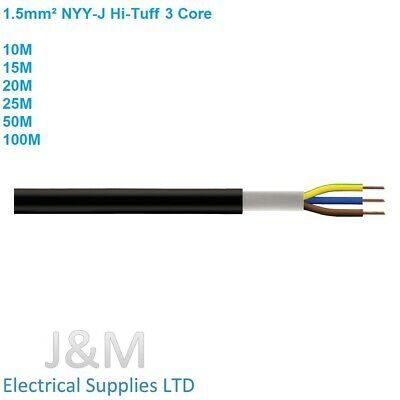 1.5mm PVC Outdoor Hi Tuff Cable NYY-J 3 Core Lighting Wire Outside Power Flex