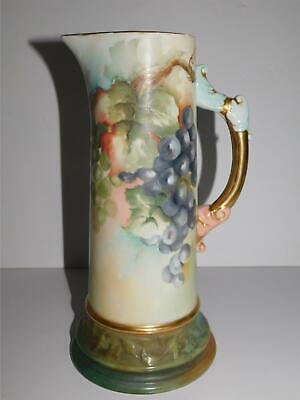Antique Belleek Willets Hand Painted 11 1/2' Tall Tankard Pitcher Grapes