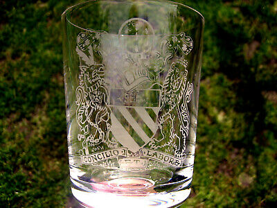 Large crystal glass goblet ornament decorated with the Manchester Coat of Arms