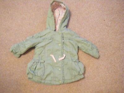 Girls Green and Pink Hooded Coat Age 3-6 Months from George