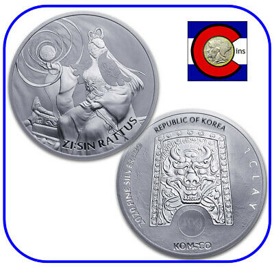 2020 South Korea ZI:SIN Rattus 1 oz Silver Coin in direct fit capsule