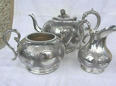 Vintage Art Deco Silver Plated Epbm   3 Pc Tea Set Stamped  5 Gill On Base