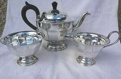 Vintage Silver Plated Epns  3 Pc Tea Set ~ Holds 6 Cups