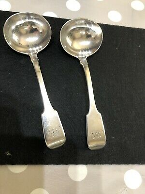 Antique Pair Of Sterling Silver Victorian (1860) Fiddle Pattern Sauce Ladles