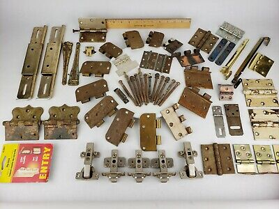 Lot Hardware & Hinges - Blum Flip Lock Vintage Door Brass Cabinet Trunk Window
