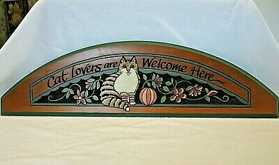 """Cat Lovers are Welcome Here~Long 27"""" Decor Wall/Above Door Wood Plaque~NICE!"""