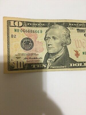 6 Of A Kind US FRN $10  SERIAL# MB 0 666 8 666 B New York
