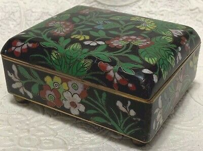 CLOISONNE ENAMEL TRINKET BOX Cobalt Blue with Poppies Flowers Ball Feet Hinged