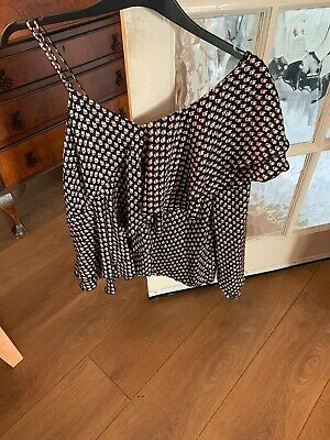 Ladies Blouse, Size 18 Next, Black White & Red - One Long Sleeve & 1 Sleeveless