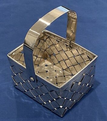 Antique Rectangular Silverplate Woven Basket W/ Handle & 2 Tiny Flowers