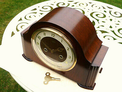 Vintage restored 1954 Smiths  Enfield striking  mantle clock. With brass key