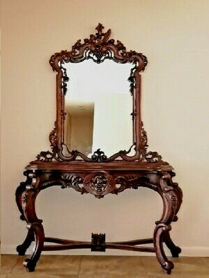 Mahogany hand crafted Vintage Hall Console Table & Mirror, Grape Carved