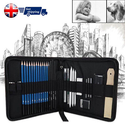 32pcs Sketching Drawing Set Art Pencil Kit Graphite Charcoal Artists HOT SALE UK