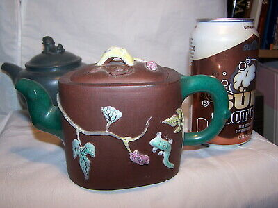 PAINTED Antique Signed Chinese Antique Yixing Stoneware Enamel Tea POT VINES