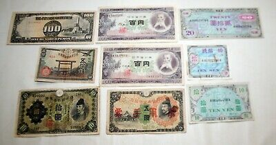 Vintage Japan Military Currency Phillipines Occupation 10 20 100 Yen Sen WWII