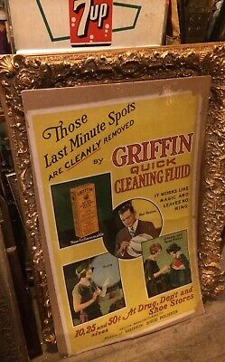 """RARE Old Griffin Shoe Polish Advertising 45"""" x 29"""" Shipping Ok Quick Cleaning"""