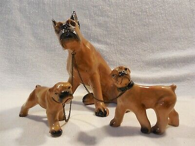 Vintage Japan Large Ceramic Boxer Dog with 2 Puppies on Chain Figurine Set