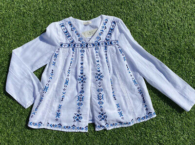 Fab Girls River Island White & Blue Embroidered Sequin Kimono Jacket Age 7-8 Yrs